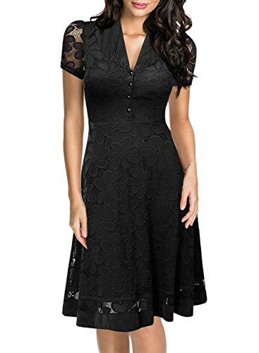 Miusol Deep V Neck Lace A Line Swing Dress Black