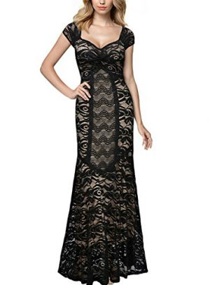 Miusol Vintage Full Lace Empire Evening Maxi Dress