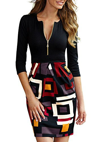 Miusol Women's Front Zipper Color Block Printed Cocktail Dress