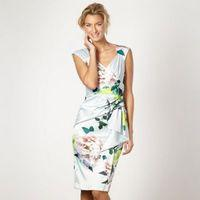 Pale green floral wrap dress