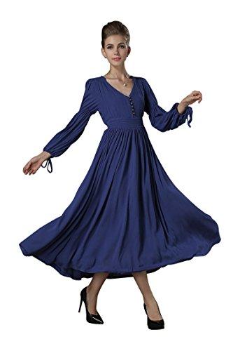 SHANGRUN Women's Retro V-neck Exquisite Waist Maxi Dress, Blue