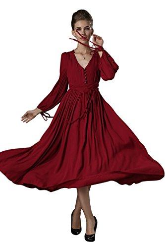 SHANGRUN Women's Retro V-neck Exquisite Waist Maxi Dress