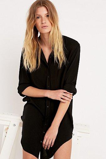 Silence + Noise Annie Shirt Dress in Black, Black
