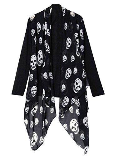 Skull chiffon front cardigan