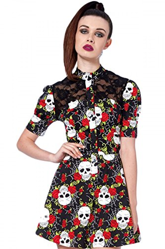 Skull print shirt dress