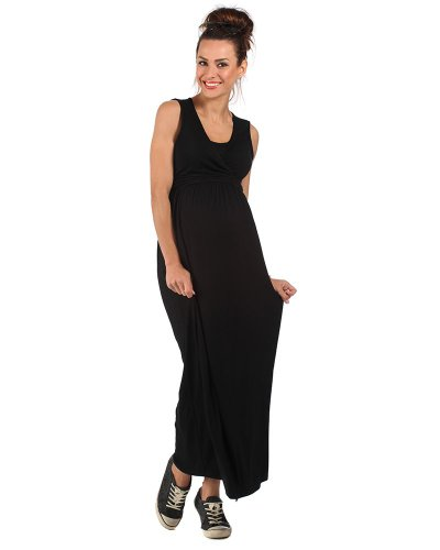 The Essential One - Sleeveless Nursing Maxi Dress - Black - EOM88