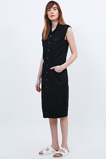 This is Welcome Patti Sleeveless Denim Shirt Dress in Black, BLACK