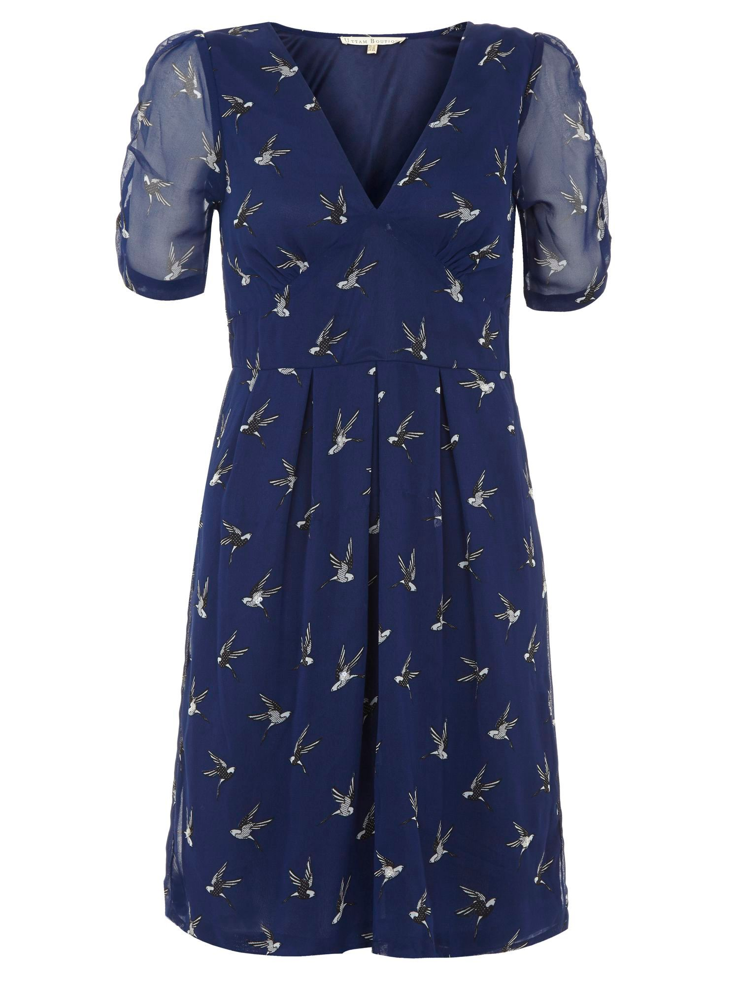 Uttam Boutique Bird print dress, Navy