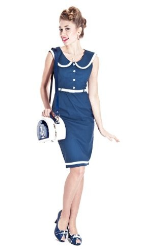 Collectif Dana Navy Fitted Linen Vintage 50s Nautical Sailor Pencil Wiggle Dress