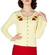 Voodoo Vixen Cresida Lemon Strawberry Cardigan (Yellow)
