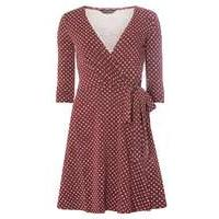 Womens Berry Geometric Print Wrap Dress- Red - Dorothy Perkins Nursing Clothes