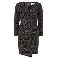 Womens Closet Multi Print Wrap Drape Dress- Multi Colour