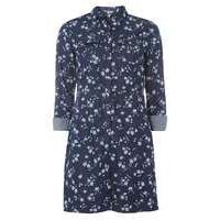 Womens Floral Denim Shirt Dress- Blue - Dorothy Perkins Nursing Clothes
