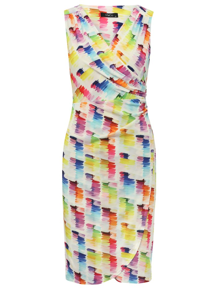 Women's Ladies rainbow brush stroke print wrap over shift occasion dress