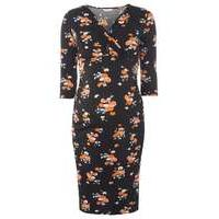 Womens Maternity Black Floral Ruched Wrap Dress- Black - Dorothy Perkins Nursing Clothes