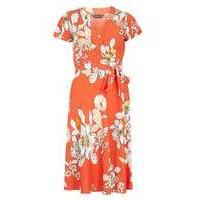 Womens Orange floral wrap dress- Orange - Dorothy Perkins Nursing Clothes