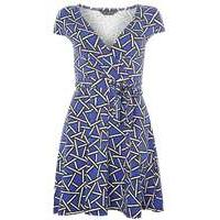 Womens blue shattered geo print wrap dress- Blue - Dorothy Perkins Nursing Clothes
