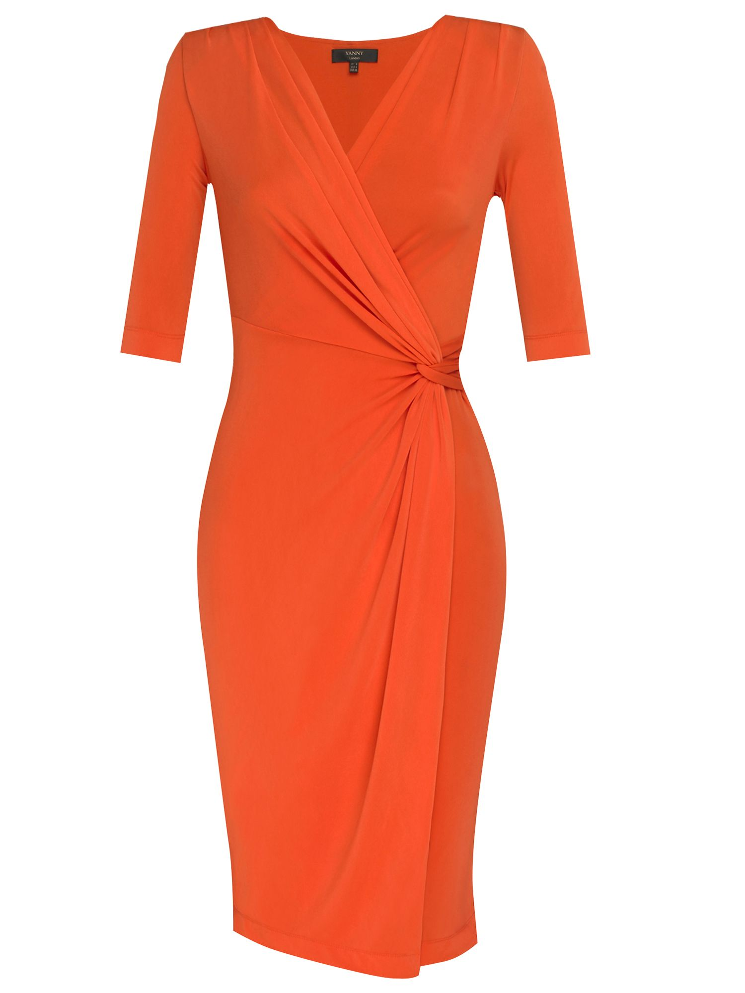 Yanny London 3/4 sleeve wrap jersey dress, Coral