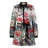 Yumi Bird and Floral Print Shirt Dress