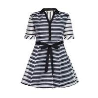 Yumi Black Striped Organza Collar Dress