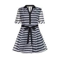 Yumi Black Striped Organza Collar Dress