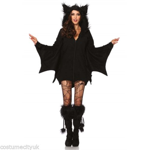 Zip front fleece ladies bat costume