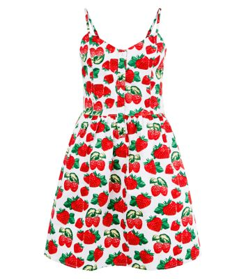Cutie Strawberry Print Skater Dress