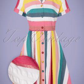 50s Kate Rainbow Stripe Shirt Dress in Multi at Top Vintage
