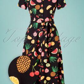 70s Nettie Fruit Punch Shirt Midi Dress in Black at Top Vintage