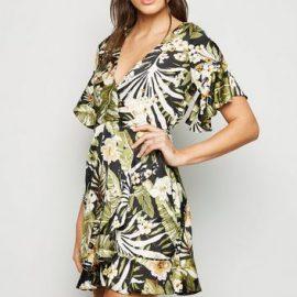 AX Paris Black Tropical Floral Wrap Dress New Look at New Look UK