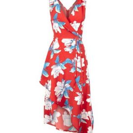 AX Paris Red Floral Wrap Front Dress New Look at New Look UK