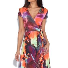 Abstract Leopard Pink Orange and Grey Wrap Dress at Vestry Online