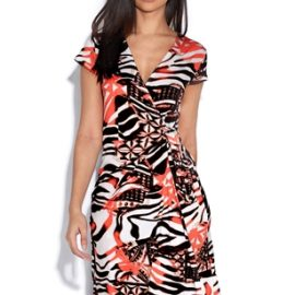 Abstract Orange Animal Wrap Dress at Vestry Online
