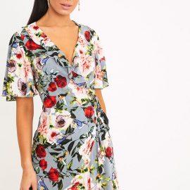 Ammie Grey Floral Wrap Front Tea Dress