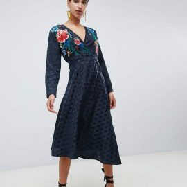 Asos Design ASOS DESIGN jacquard wrap midi dress with long sleeves and embroidery