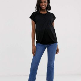 Asos Maternity Nursing ASOS DESIGN Maternity nursing t-shirt with wrap overlay in black