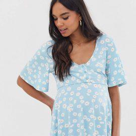Asos Maternity Nursing ASOS DESIGN Maternity nursing v neck button front in daisy floral print
