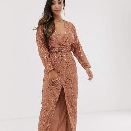 Asos Petite ASOS DESIGN Petite maxi dress with batwing sleeve and wrap waist in scatter sequin