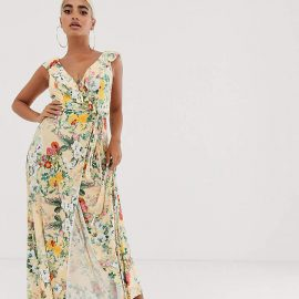 Asos Petite ASOS DESIGN Petite ruffle wrap maxi dress with tie detail in floral print