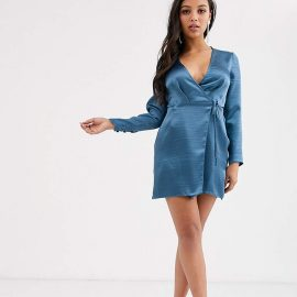 Asos Petite ASOS DESIGN Petite wrap mini dress in high shine satin