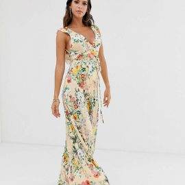 Asos Tall ASOS DESIGN Tall ruffle wrap maxi dress with tie detail in floral print