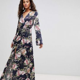 Asos Tall ASOS DESIGN Tall wrap maxi with long sleeve in navy floral print