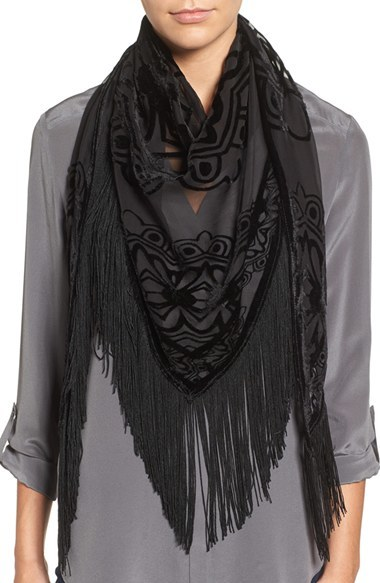 BCBG Neration Burnout Velvet Triangle Scarf
