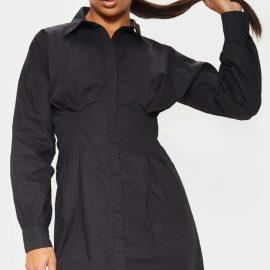 Black Fitted Waist Shirt Dress