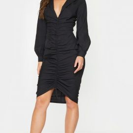 Black Long Sleeve Ruched Midi Shirt Dress