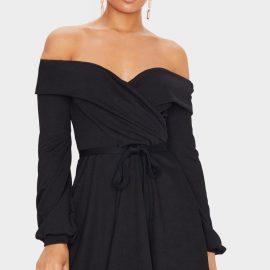 Black Long Sleeve Wrap Bardot Skater Dress