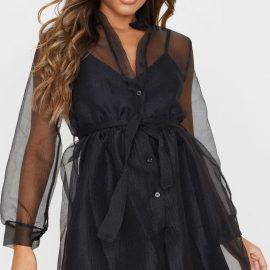 Black Organza Tie Waist Long Sleeve Shirt Dress
