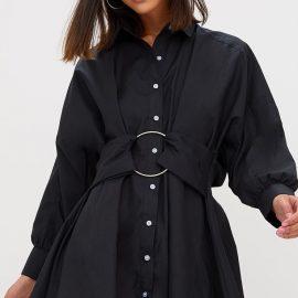 Black Ring Detail Shirt Dress
