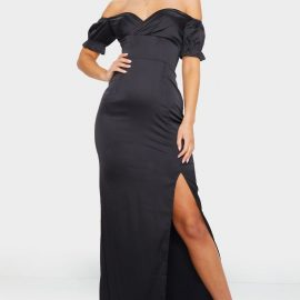 Black Satin Wrap Bardot Maxi Dress