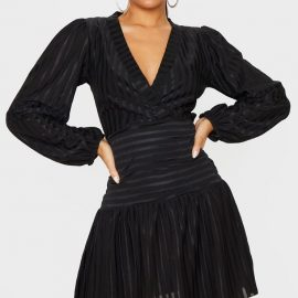 Black Striped Puff Sleeve Wrap Skater Dress